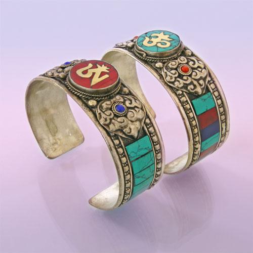 Браслет HAN0019 Оберег Символы Буддизма Металлический Непал